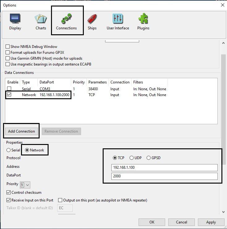 OpenCPN WiFi Connection Setup GPS-AIS-Wind Setup
